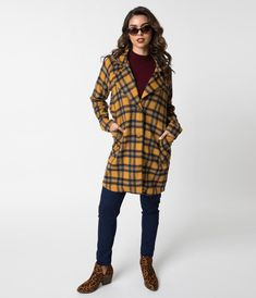 1e431a94a7 Retro Style Mustard Yellow   Blue Plaid Brushed Wool Oversized Coat