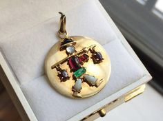 Vintage 14k Gold Charm with Gemstone Asian Figure