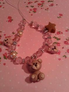 braccialetto bimba con perline e orsetti by Pink Art