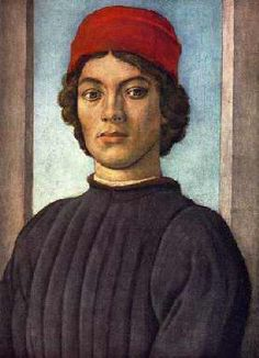 Filippino Lippi, Portrait of a Youth, 1485, detail. Florentine school. This simple doublet is made of heavy fabric decorated with vertical quilting lines. The sleeves are somewhat loose at the top, becoming more fitted at the wrists. The garment may be fur-lined, since a bit of fur is visible at the neckline -- it's definitely a very bulky, thick garment. As always, a camicia collar sticks out above the coat's collar. The youth also wears the very fashionable scarlet berretta, or cap.