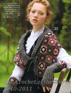 "Cloak and mitts of ""granny squares"". Comments: LiveInternet -  FREE CROCHET PATTERN. I so like this off kilter look!"