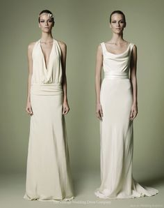 1920s style dress with plunging neckline and low-slung waist and 1940s inspired cowl neck column gown from The Vintage Wedding Dress Company.