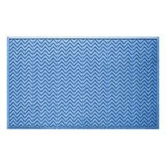WaterGuard Chevron Indoor Outdoor Mat, Med Blue