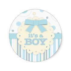 It's a Boy All in Blue Stitches and Bow Baby Shower Round Stickers