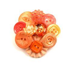 Orange & Peach Vintage Button Brooch Felted by InstinctivelyIndie, $19.50