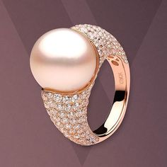 Elegant South Sea Pearl Ring Beautifully Accentuated By 3.88cts Diamonds In 18kt Rose Gold Yoko London.......