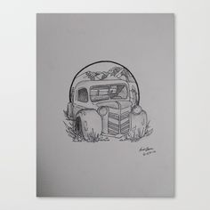 """Fine art print on bright white, fine poly-cotton blend, matte canvas using latest generation Epson archival inks. Individually trimmed and hand stretched museum wrap over 1-1/2"""" deep wood stretcher bars. Includes wall hanging hardware. #Art #decor  #wallart  #boho  #cars  #drawing"""