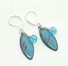 Vitreous Enamel Czech Glass Beads Sapphire Blue  Leverback Earrings by PrayerMonkey on Etsy