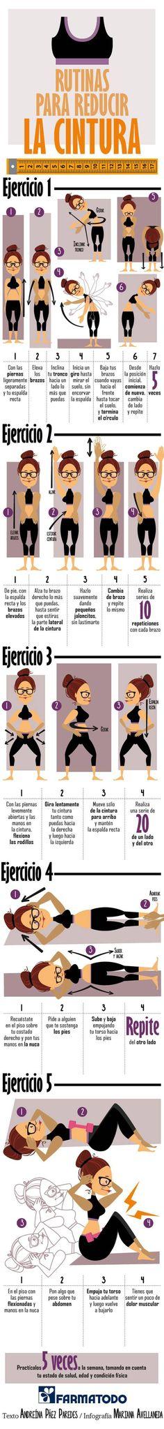 Rutina completa de ejercicios abdominales para reducir la cintura. #infografias #deporte #abdominales