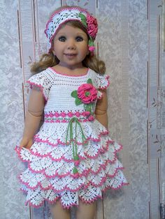 Free Crochet, Crochet Hats, Crochet Clothes, Baby Dolls, Doll Clothes, Little Girls, Flower Girl Dresses, Sewing, Wedding Dresses