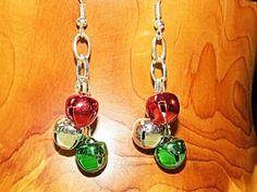 Jingle bell Earrings.  Holiday earrings.  by NammersCrafts on Etsy