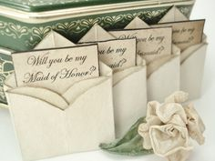 SOLD OUT. Faux Antique Will You Be My Bridesmaid  Miniature Envelope Magnets by TheRecycledRuffle