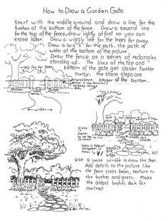 How to Draw Worksheets for Young Artist: How to Draw a Garden Gate Worksheet. Project notes at the blog: http://drawinglessonsfortheyoungartist.blogspot.com/2013/04/how-to-draw-garden-gate-worksheet.html