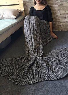 Crochet Knitting Dark Grey Mermaid Tail Design Blanket on sale only US$27.94…