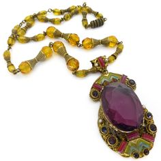 Vintage Czech Art Deco Oranate Filigree Rainbow Enamel Panel Glass Bead Necklace | Clarice Jewellery | Vintage Costume Jewellery