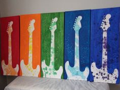 Original Guitar Art RAINBOW Stratocaster Series by GetitForThem, $100.00