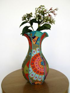Muted Mosaic curvy fabric vase by RollingBlackout on Etsy, $54.00