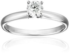 IGI Certified 14k White Gold Classic Round-Cut Diamond Engagement Ring (1/2 cttw, H-I Color, SI1-SI2…
