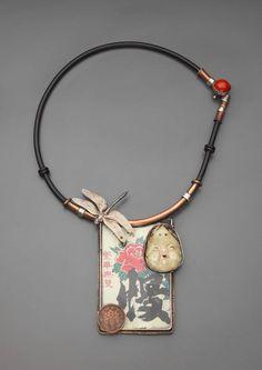 Necklace | Ramona Solberg. 'Sake-Sake' Silver, rubber, Japanese sake label, lucite, Japanese coin, ceramic, copper, cinnabar bead