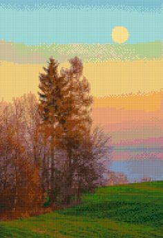 Sunrise Landscape Cross Stitch pattern PDF - Instant Download! by PenumbraCharts on Etsy