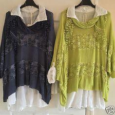 Nuevo-Italiano-De-Lana-De-3-piezas-en-capas-Plus-Algodon-Camisa-Tunica-Lentejuelas-Camiseta-sin