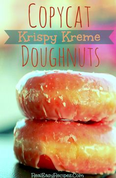 Copycat Krispy Kreme Doughnuts - pretty easy, really good, melt in your mouth, used cream for the glaze instead of water.  jb