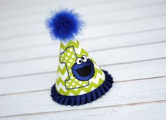 Cookie Monster Sesame Street Birthday Party Hat - Smash Cake Pics, Photo Prop - Cookie Monsters in Lime Green Chevron and Dots with Blue
