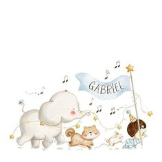 Hey look, it's baby Gabriel and friends happily marching into his birthday celebration ! Would you like to join the party? — Custom Illustration for baby Gabriel — . Kids Prints, Baby Prints, Boy Illustration, Illustrations, Watercolour Illustration, Baby Wallpaper, Baby Posters, Baby Frame, Baby Mobile