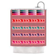 "Kess InHouse Famenxt ""Romantic Love Pattern"" Pink Shower Curtain"