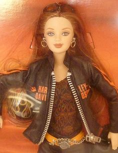 2000 Harley Davidson Motorcycle Barbie Doll Red Head 5 Leather Flames