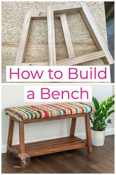 Easy DIY Bench with storage. Perfect for beginner woodworkers. Great addition to any entryway or mudroom. Quick and easy one day project. #anikasdiylife #woodworking #woodworkingplans Scrap Wood Projects, Woodworking Projects That Sell, Diy Woodworking, Diy Storage Bench, Diy Bench, Colorful Furniture, Diy Furniture, Built In Bench, Upholstered Bench