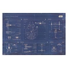 Art.com Star Wars Rebel Alliance Fleet Blueprint Poster Wall Art, Blue