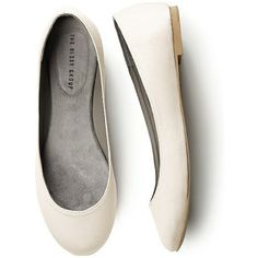 Simple Satin Ballet Wedding Flats (39 AUD) ❤ liked on Polyvore featuring shoes, flats, white flat shoes, white ballet flats, ballerina pumps, ivory flats and ivory bridal flats