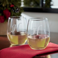 Monogrammed Stemless Wine Glasses | Informal and easy to clean, these stemless glasses can be used for red wines, white wines, or roses. Set of four.