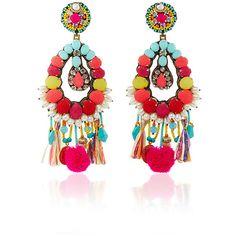 Ranjana Khan Turquoise Fringe Earrings ($430) ❤ liked on Polyvore featuring jewelry, earrings, turquoise earrings, swarovski crystal earrings, indian jewellery, floral earrings and indian jewelry
