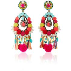 Ranjana Khan Turquoise Fringe Earrings ($430) ❤ liked on Polyvore featuring jewelry, earrings, coin jewelry, pom pom earrings, indian turquoise earrings, indian jewellery and fringe earrings