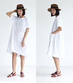 Womens Summer Tunic DressA-line Cotton DressShort Sleeve by lanbao