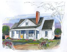 Magnolia Cottage Plan SL-1845 I like the fact that this fits the sq ft requirement of under 2000 sq/ft, has a large front porch, main floor master, two add'l bed rooms, each w/ their own bath.