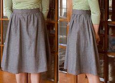 DIY Vintage-Inspired Gathered High-Waisted Midi Skirt