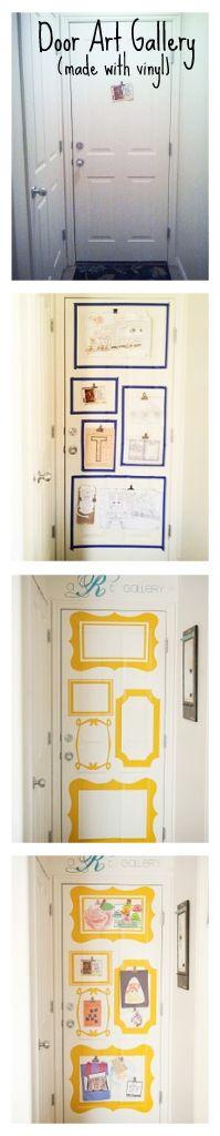"Vinyl ""frames"" on back of door to make Kid Art Gallery."