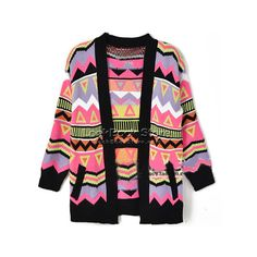 Women Colourway Aztec Geo Chunky Contrast Knitwear CardiganCable... ❤ liked on Polyvore featuring tops, cardigans, sweaters, jackets, chunky black cardigan, aztec pattern cardigan, chunky cardigan, chunky knit cardigan and aztec knit cardigan