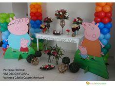 15/11/2016, decoração de festa infantil - Peppa Pig com arranjos naturais, VM Design Floral  balões por Ateliê Rita Calheiros