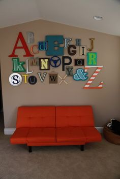 Alphabet wall for playroom, nursery or kids room – paint and decoupage letters