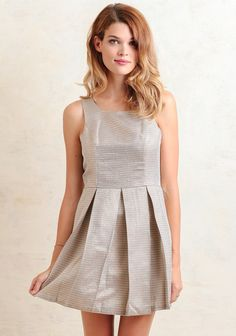 Make an entrance in this stunning cream-hued dress accented with metallic orange, gold, and gray threading throughout. Designed with box pleats for added flare and an exposed back zipper closure,...