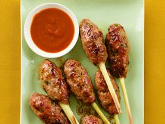 Bacon-Pork Pops on Lemongrass Sticks recipe from Food Network Magazine via Food Network