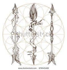 Arrows and flowers. A set of elements in the style of Boho. Contour illustrations for the creation of tattoos, coloring, clothing design and printed products.