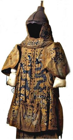 Mongolian armor beginning of the period of the Yuan Dynasty (late 13th century). This armor was used during the Mongol invasion of Japan, and is kept in the Museum of the Mongol invasion of Japan