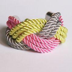 braid silk cord bracelet - braided - wide - unique - pink, grey, lime - satin cord - fiber brfacelet - bangle bracelet. $18.00, via Etsy.