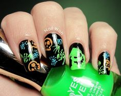 Oogie Boogie from The Nightmare Before Christmas nail art. by sonia