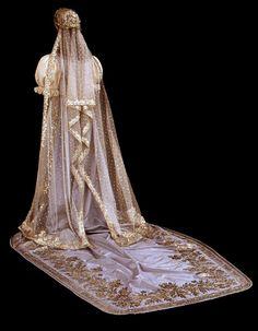 Back of a wedding dress, veil, and train, Hungary, 1875-1900.